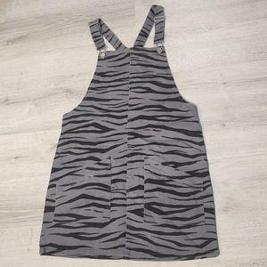 Material Girl tiger print overall skirt